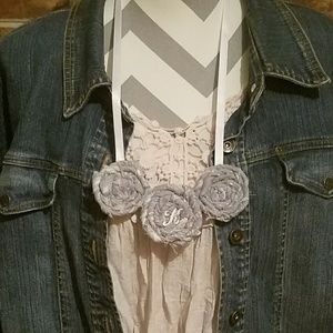 Fabric Rosette Statement Necklace